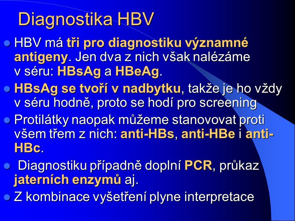 Diagnostika HBV HBV má tři pro diagnostiku významné antigeny. Jen dva z nich však nalézáme v séru: HBsAg a HBeAg. HBV má tři pro diagnostiku významné