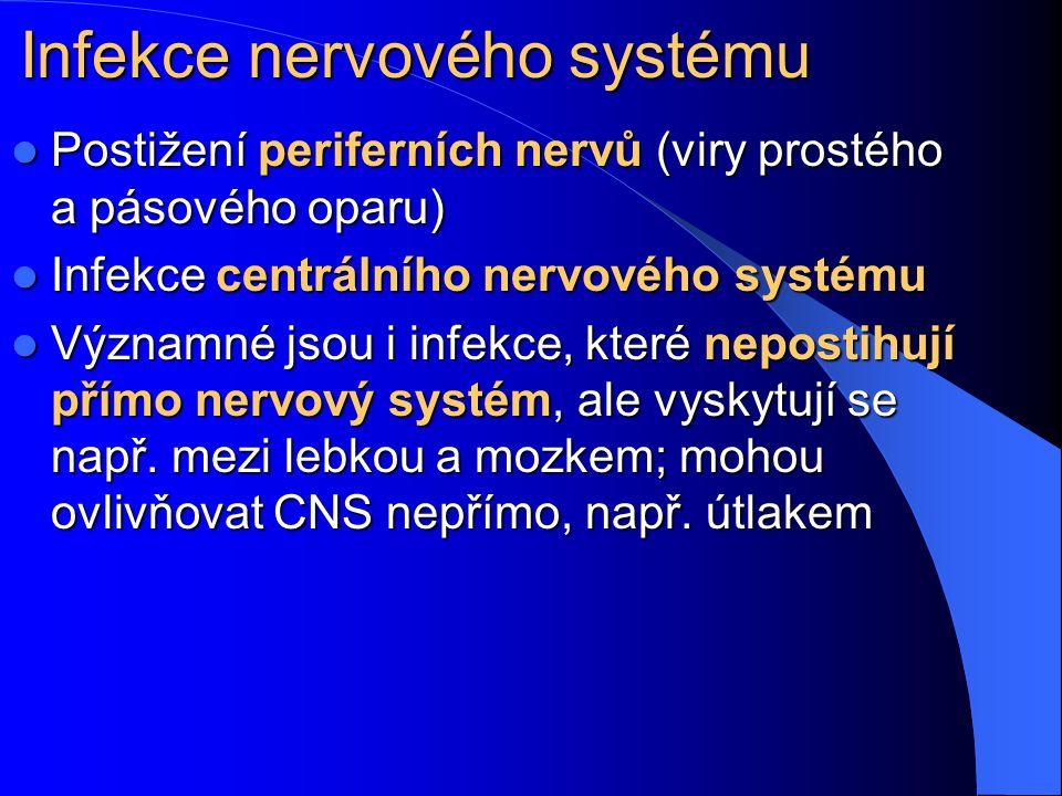 Infekce nervového systému Postižení periferních nervů (viry prostého a pásového oparu) Postižení periferních nervů (viry prostého a pásového oparu) Infekce centrálního nervového systému Infekce centrálního nervového systému Významné jsou i infekce, které nepostihují přímo nervový systém, ale vyskytují se např.