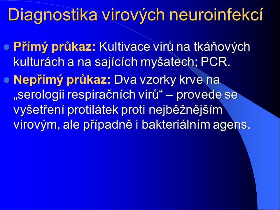 Diagnostika virových neuroinfekcí Přímý průkaz: Kultivace virů na tkáňových kulturách a na sajících myšatech; PCR. Přímý průkaz: Kultivace virů na tká