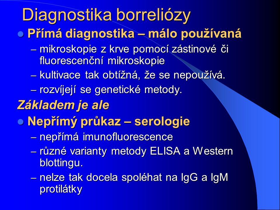 Diagnostika borreliózy Přímá diagnostika – málo používaná Přímá diagnostika – málo používaná – mikroskopie z krve pomocí zástinové či fluorescenční mi