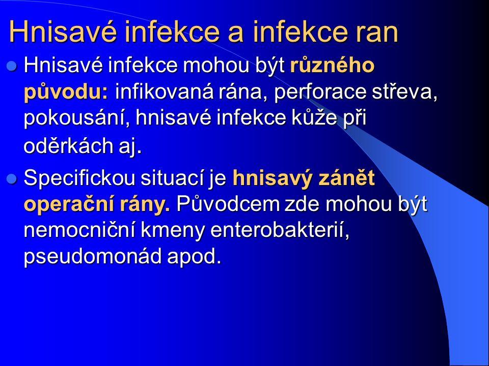 Hnisavé infekce a infekce ran Hnisavé infekce mohou být různého původu: infikovaná rána, perforace střeva, pokousání, hnisavé infekce kůže při oděrkách aj.