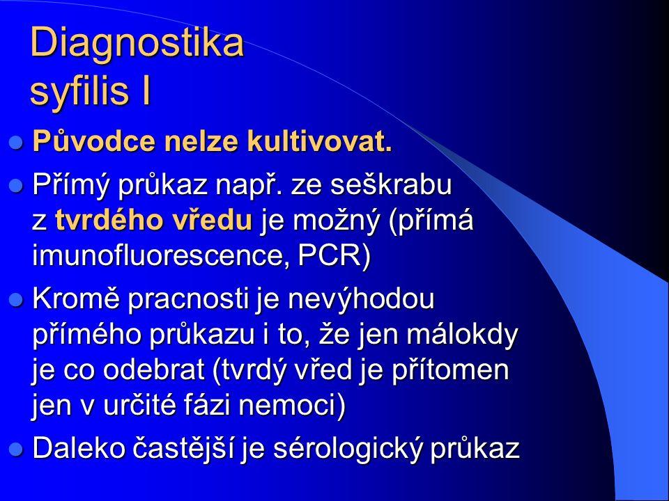 Diagnostika syfilis I Původce nelze kultivovat. Původce nelze kultivovat. Přímý průkaz např. ze seškrabu z tvrdého vředu je možný (přímá imunofluoresc
