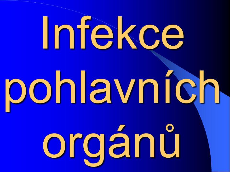 Syfilis Závažná pohlavně přenosná infekce Závažná pohlavně přenosná infekce Pouze v počátečních stádiích postihuje pohlavní orgány, rozvinutá syfilis napadá různé orgánové soustavy celého těla (neurolues, aneurysma aorty a podobně) Pouze v počátečních stádiích postihuje pohlavní orgány, rozvinutá syfilis napadá různé orgánové soustavy celého těla (neurolues, aneurysma aorty a podobně) Také syfilis častější, než se myslí Také syfilis častější, než se myslí Nebezpečná je vrozená syfilis – lues congenita, proto důležitý screening těhotných Nebezpečná je vrozená syfilis – lues congenita, proto důležitý screening těhotných Léčba: velké dávky penicilinu Léčba: velké dávky penicilinu
