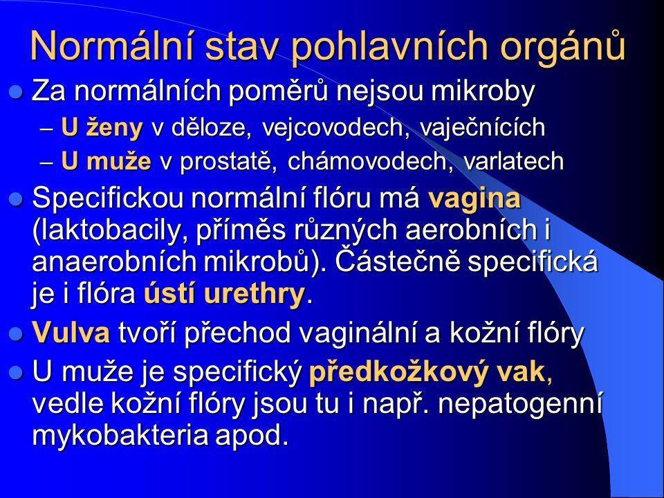 Normální stav pohlavních orgánů Za normálních poměrů nejsou mikroby Za normálních poměrů nejsou mikroby – U ženy v děloze, vejcovodech, vaječnících – U muže v prostatě, chámovodech, varlatech Specifickou normální flóru má vagina (laktobacily, příměs různých aerobních i anaerobních mikrobů).