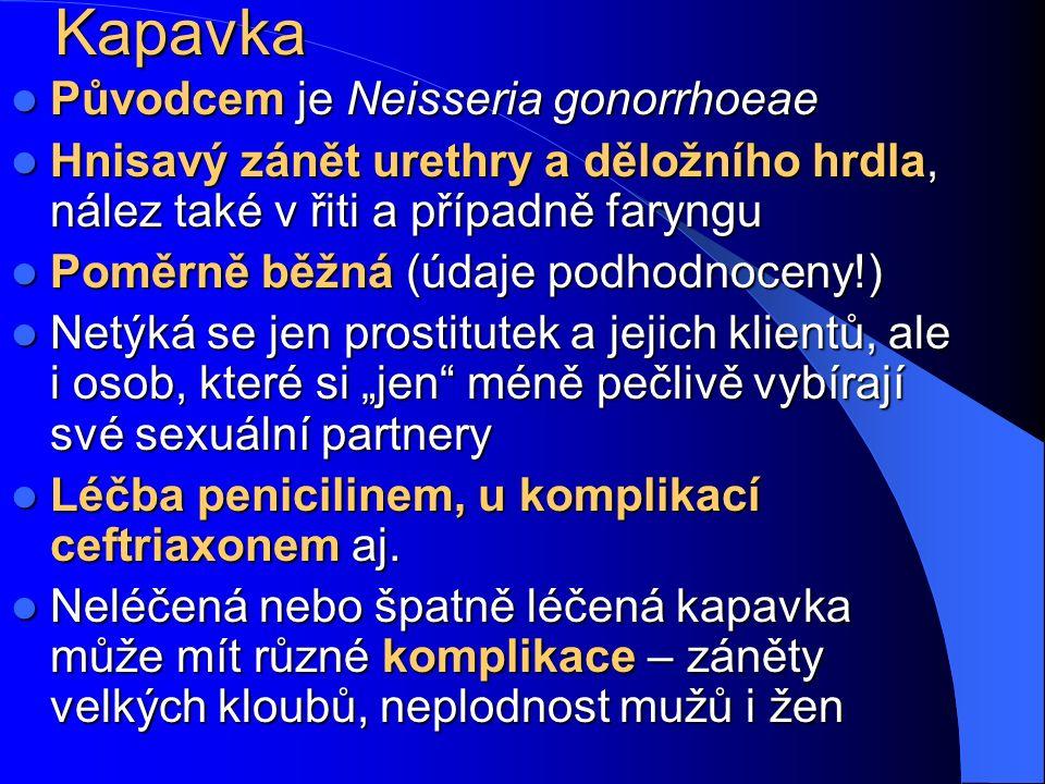"""Kapavka Původcem je Neisseria gonorrhoeae Původcem je Neisseria gonorrhoeae Hnisavý zánět urethry a děložního hrdla, nález také v řiti a případně faryngu Hnisavý zánět urethry a děložního hrdla, nález také v řiti a případně faryngu Poměrně běžná (údaje podhodnoceny!) Poměrně běžná (údaje podhodnoceny!) Netýká se jen prostitutek a jejich klientů, ale i osob, které si """"jen méně pečlivě vybírají své sexuální partnery Netýká se jen prostitutek a jejich klientů, ale i osob, které si """"jen méně pečlivě vybírají své sexuální partnery Léčba penicilinem, u komplikací ceftriaxonem aj."""