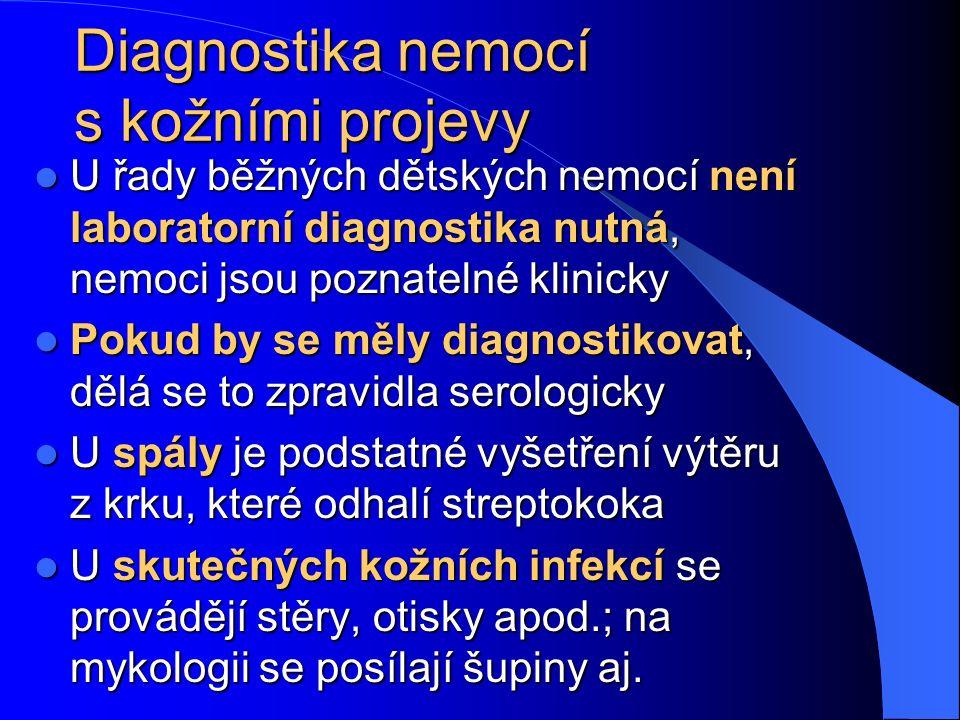 Diagnostika nemocí s kožními projevy U řady běžných dětských nemocí není laboratorní diagnostika nutná, nemoci jsou poznatelné klinicky U řady běžných dětských nemocí není laboratorní diagnostika nutná, nemoci jsou poznatelné klinicky Pokud by se měly diagnostikovat, dělá se to zpravidla serologicky Pokud by se měly diagnostikovat, dělá se to zpravidla serologicky U spály je podstatné vyšetření výtěru z krku, které odhalí streptokoka U spály je podstatné vyšetření výtěru z krku, které odhalí streptokoka U skutečných kožních infekcí se provádějí stěry, otisky apod.; na mykologii se posílají šupiny aj.