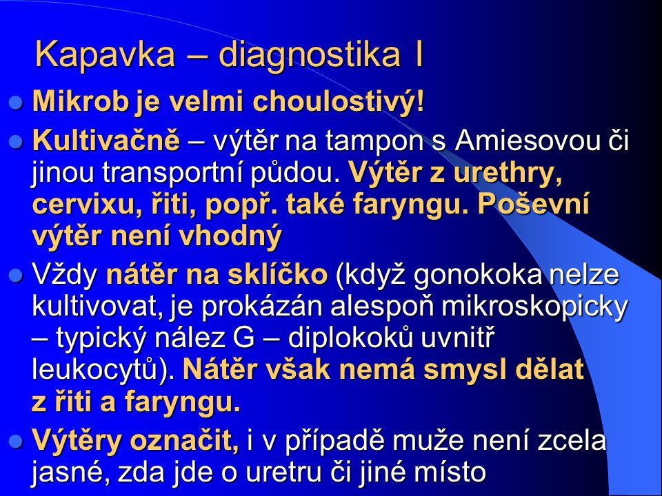 Kapavka – diagnostika I Mikrob je velmi choulostivý.