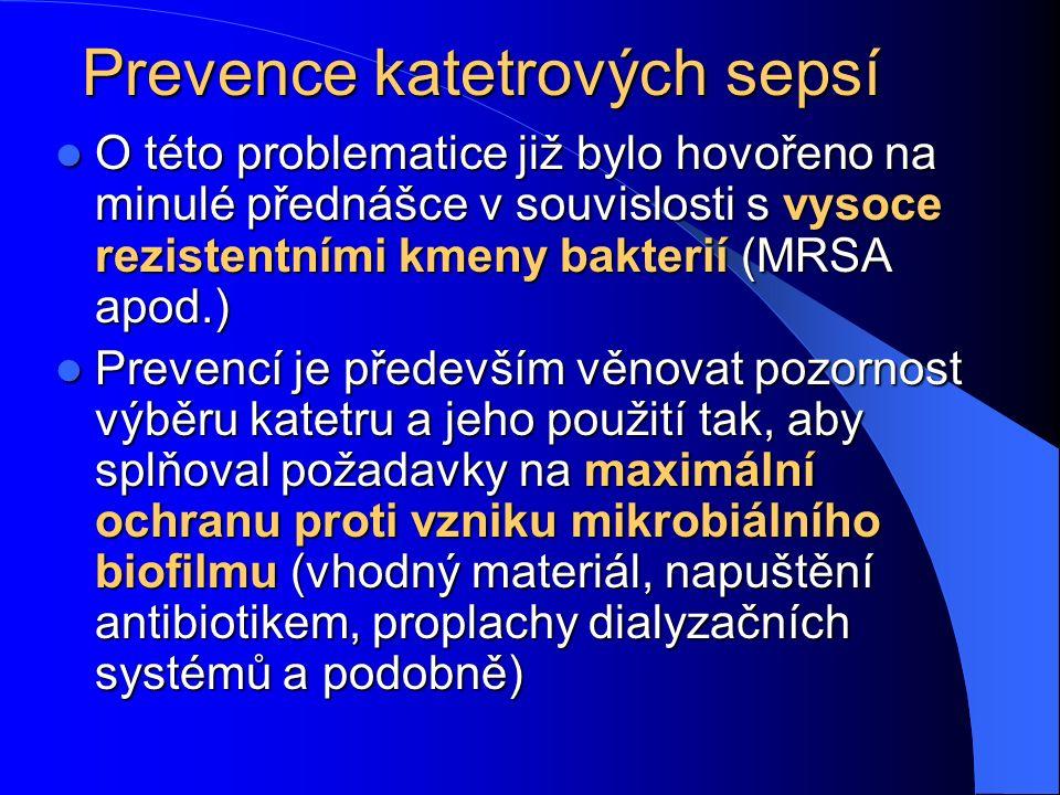 Prevence katetrových sepsí O této problematice již bylo hovořeno na minulé přednášce v souvislosti s vysoce rezistentními kmeny bakterií (MRSA apod.) O této problematice již bylo hovořeno na minulé přednášce v souvislosti s vysoce rezistentními kmeny bakterií (MRSA apod.) Prevencí je především věnovat pozornost výběru katetru a jeho použití tak, aby splňoval požadavky na maximální ochranu proti vzniku mikrobiálního biofilmu (vhodný materiál, napuštění antibiotikem, proplachy dialyzačních systémů a podobně) Prevencí je především věnovat pozornost výběru katetru a jeho použití tak, aby splňoval požadavky na maximální ochranu proti vzniku mikrobiálního biofilmu (vhodný materiál, napuštění antibiotikem, proplachy dialyzačních systémů a podobně)
