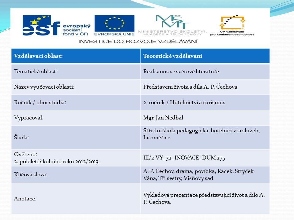 Vzdělávací oblast:Teoretické vzdělávání Tematická oblast:Realismus ve světové literatuře Název vyučovací oblasti:Představení života a díla A. P. Čecho