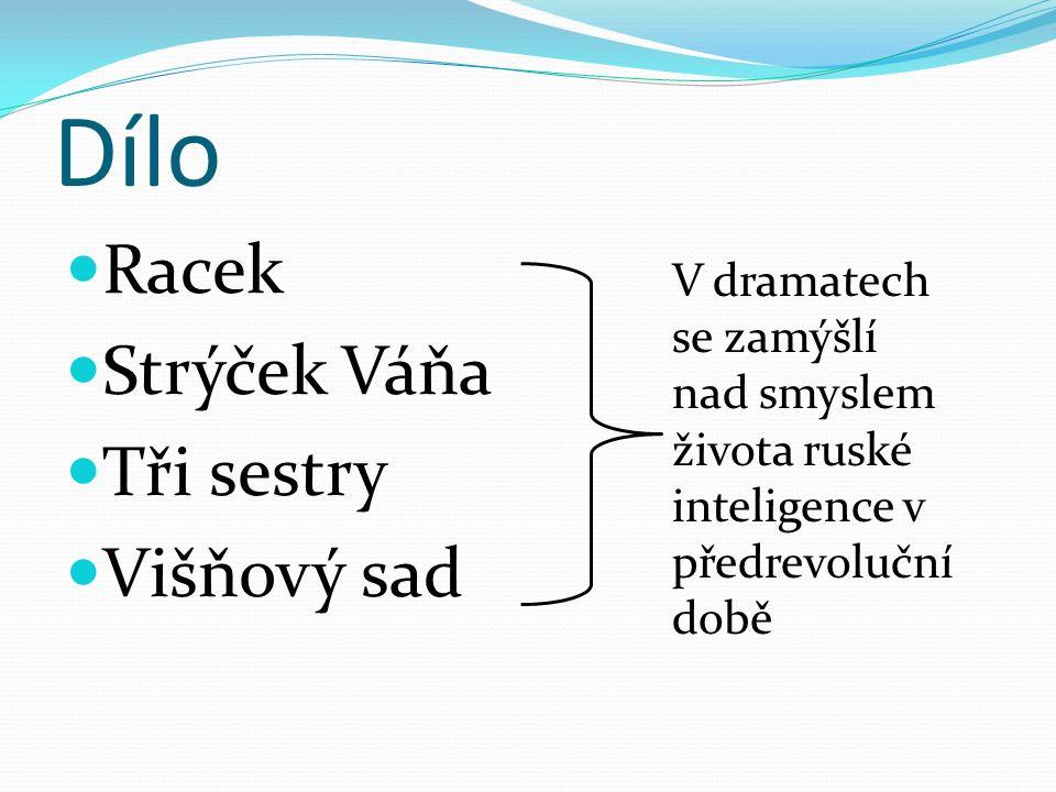 Dílo Racek Strýček Váňa Tři sestry Višňový sad V dramatech se zamýšlí nad smyslem života ruské inteligence v předrevoluční době