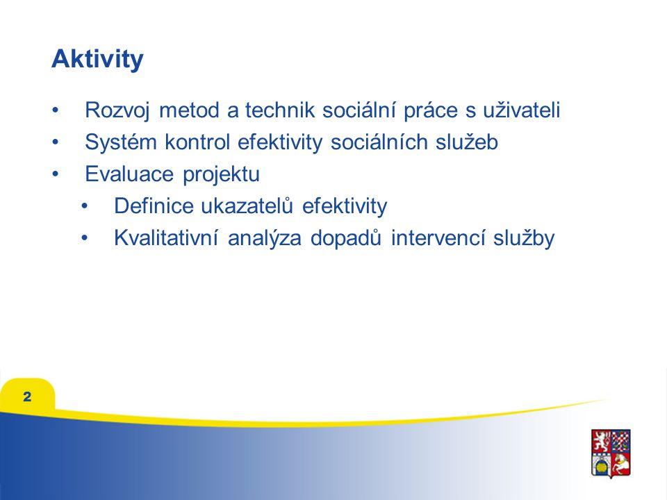 2 Aktivity Rozvoj metod a technik sociální práce s uživateli Systém kontrol efektivity sociálních služeb Evaluace projektu Definice ukazatelů efektivi
