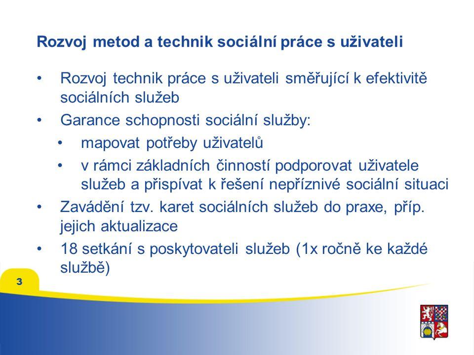 3 Rozvoj metod a technik sociální práce s uživateli Rozvoj technik práce s uživateli směřující k efektivitě sociálních služeb Garance schopnosti sociá