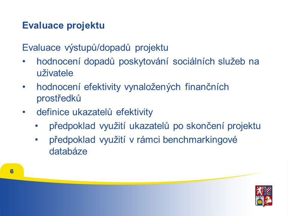 6 Evaluace projektu Evaluace výstupů/dopadů projektu hodnocení dopadů poskytování sociálních služeb na uživatele hodnocení efektivity vynaložených fin