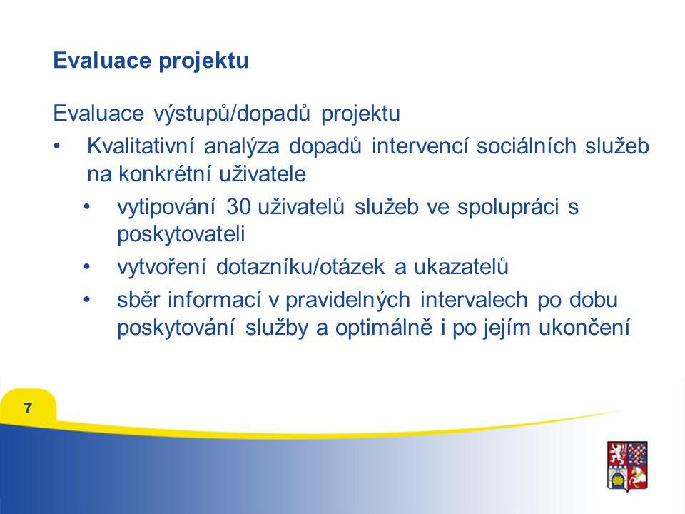 7 Evaluace projektu Evaluace výstupů/dopadů projektu Kvalitativní analýza dopadů intervencí sociálních služeb na konkrétní uživatele vytipování 30 uži