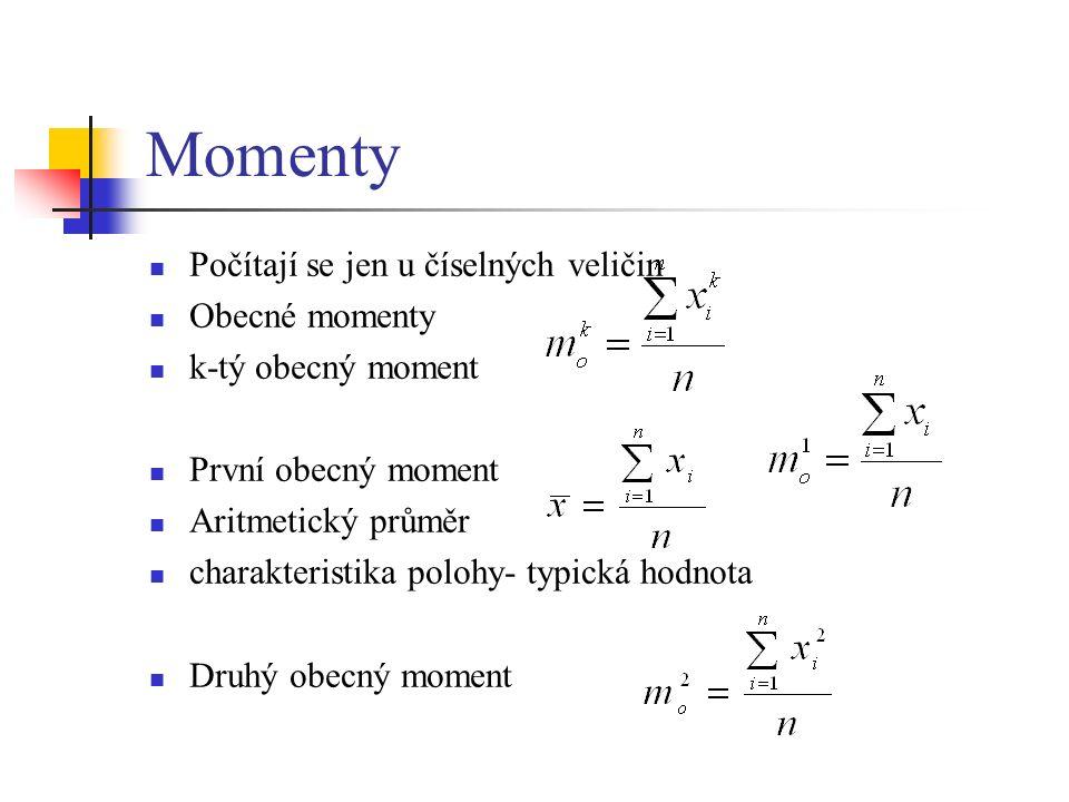 Momenty Počítají se jen u číselných veličin Obecné momenty k-tý obecný moment První obecný moment Aritmetický průměr charakteristika polohy- typická hodnota Druhý obecný moment