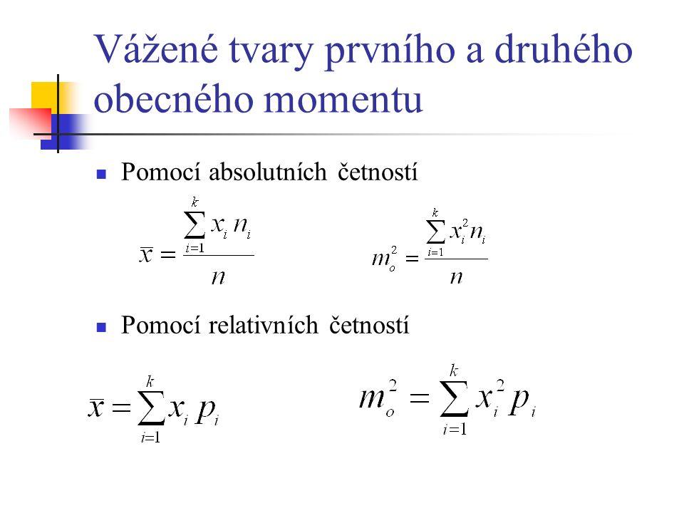 Vážené tvary prvního a druhého obecného momentu Pomocí absolutních četností Pomocí relativních četností