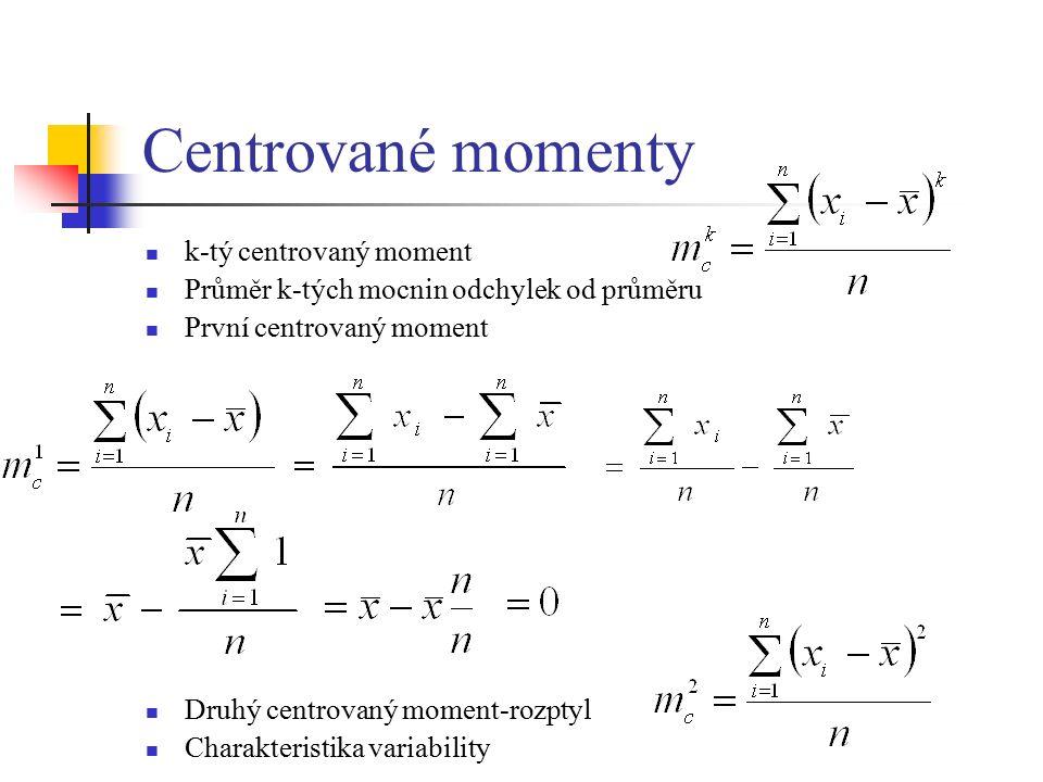 Centrované momenty k-tý centrovaný moment Průměr k-tých mocnin odchylek od průměru První centrovaný moment Druhý centrovaný moment-rozptyl Charakteristika variability