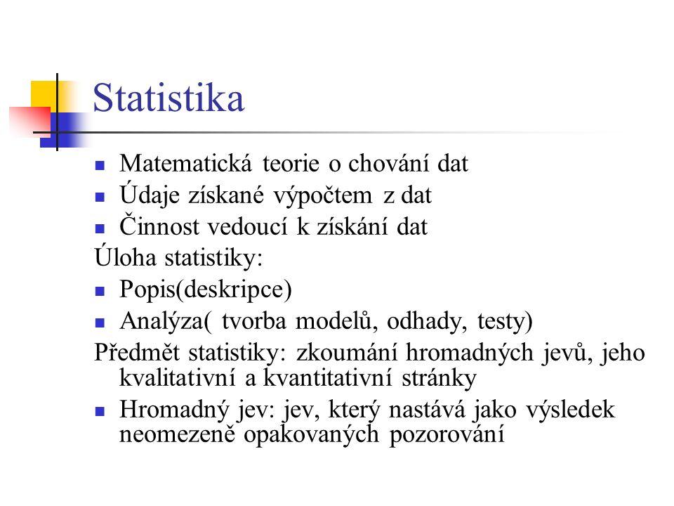 Statistika Matematická teorie o chování dat Údaje získané výpočtem z dat Činnost vedoucí k získání dat Úloha statistiky: Popis(deskripce) Analýza( tvorba modelů, odhady, testy) Předmět statistiky: zkoumání hromadných jevů, jeho kvalitativní a kvantitativní stránky Hromadný jev: jev, který nastává jako výsledek neomezeně opakovaných pozorování