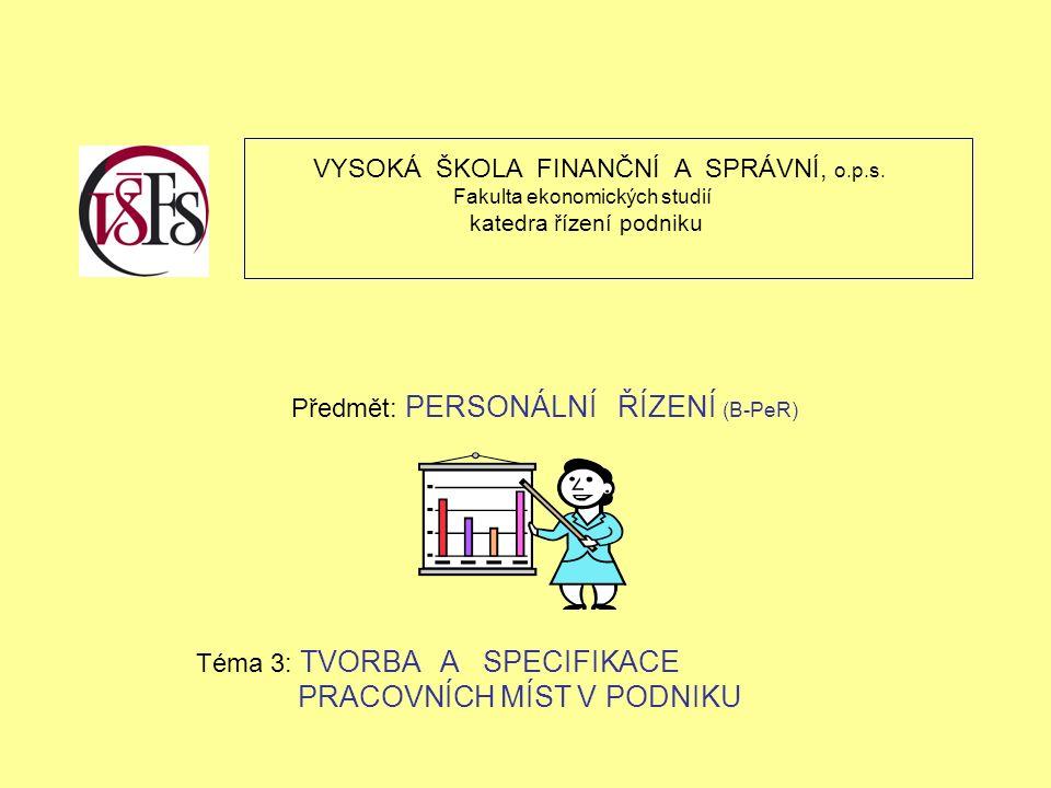 VYSOKÁ ŠKOLA FINANČNÍ A SPRÁVNÍ, o.p.s. Fakulta ekonomických studií katedra řízení podniku Předmět: PERSONÁLNÍ ŘÍZENÍ (B-PeR) Téma 3: TVORBA A SPECIFI