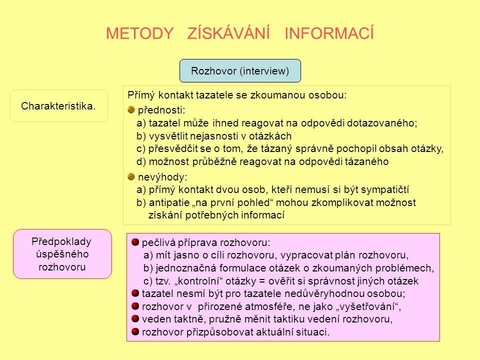 METODY ZÍSKÁVÁNÍ INFORMACÍ Rozhovor (interview) Charakteristika.