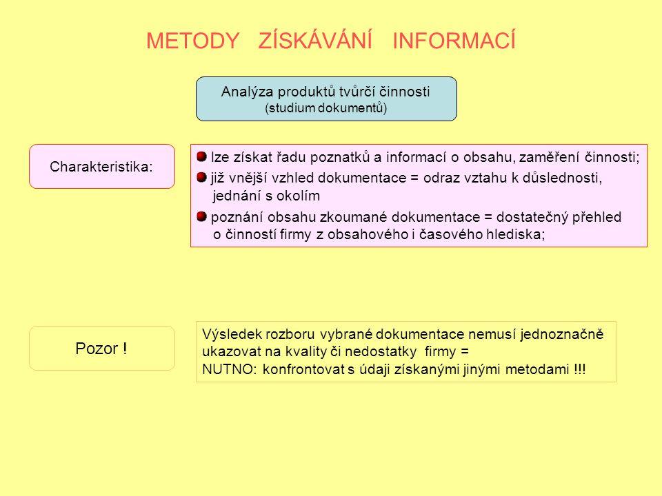 METODY ZÍSKÁVÁNÍ INFORMACÍ Analýza produktů tvůrčí činnosti (studium dokumentů) Charakteristika: lze získat řadu poznatků a informací o obsahu, zaměření činnosti; již vnější vzhled dokumentace = odraz vztahu k důslednosti, jednání s okolím poznání obsahu zkoumané dokumentace = dostatečný přehled o činností firmy z obsahového i časového hlediska; Pozor .