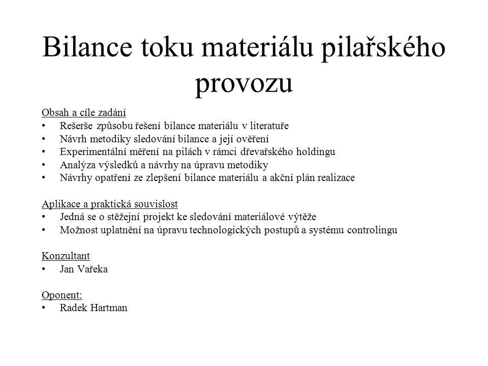 Bilance toku materiálu pilařského provozu Obsah a cíle zadání Rešerše způsobu řešení bilance materiálu v literatuře Návrh metodiky sledování bilance a
