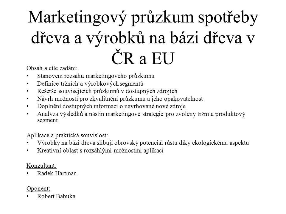 Marketingový průzkum spotřeby dřeva a výrobků na bázi dřeva v ČR a EU Obsah a cíle zadání: Stanovení rozsahu marketingového průzkumu Definice tržních a výrobkových segmentů Rešerše souvisejících průzkumů v dostupných zdrojích Návrh možností pro zkvalitnění průzkumu a jeho opakovatelnost Doplnění dostupných informací o navrhované nové zdroje Analýza výsledků a nástin marketingové strategie pro zvolený tržní a produktový segment Aplikace a praktická souvislost: Výrobky na bázi dřeva slibují obrovský potenciál růstu díky ekologickému aspektu Kreativní oblast s rozsáhlými možnostmi aplikací Konzultant: Radek Hartman Oponent: Robert Babuka