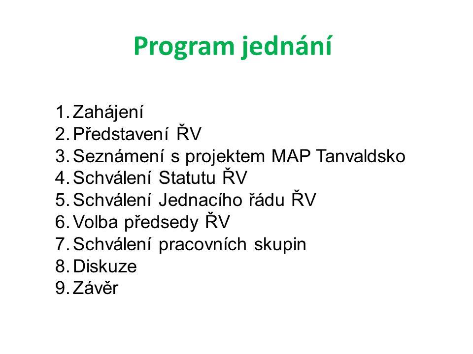 Program jednání 1.Zahájení 2.Představení ŘV 3.Seznámení s projektem MAP Tanvaldsko 4.Schválení Statutu ŘV 5.Schválení Jednacího řádu ŘV 6.Volba předsedy ŘV 7.Schválení pracovních skupin 8.Diskuze 9.Závěr