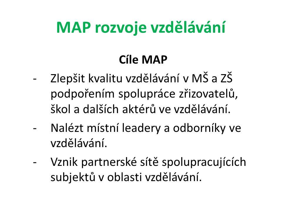 MAP rozvoje vzdělávání Cíle MAP -Zlepšit kvalitu vzdělávání v MŠ a ZŠ podpořením spolupráce zřizovatelů, škol a dalších aktérů ve vzdělávání. -Nalézt
