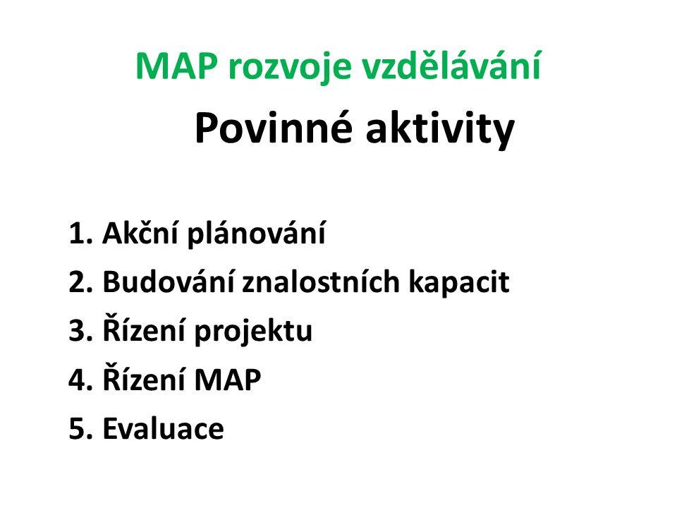 MAP rozvoje vzdělávání Povinné aktivity 1. Akční plánování 2. Budování znalostních kapacit 3. Řízení projektu 4. Řízení MAP 5. Evaluace