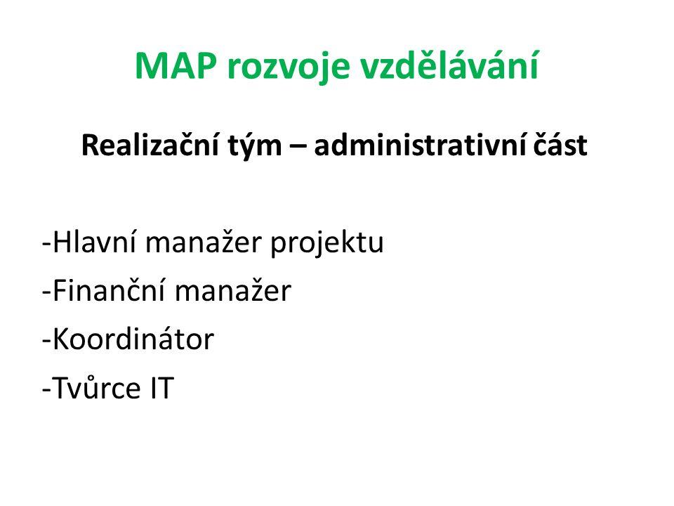 MAP rozvoje vzdělávání Realizační tým – administrativní část -Hlavní manažer projektu -Finanční manažer -Koordinátor -Tvůrce IT