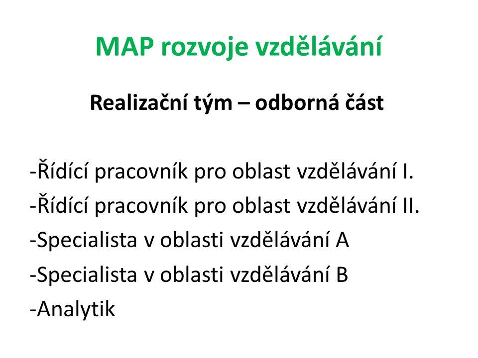 MAP rozvoje vzdělávání Realizační tým – odborná část -Řídící pracovník pro oblast vzdělávání I. -Řídící pracovník pro oblast vzdělávání II. -Specialis
