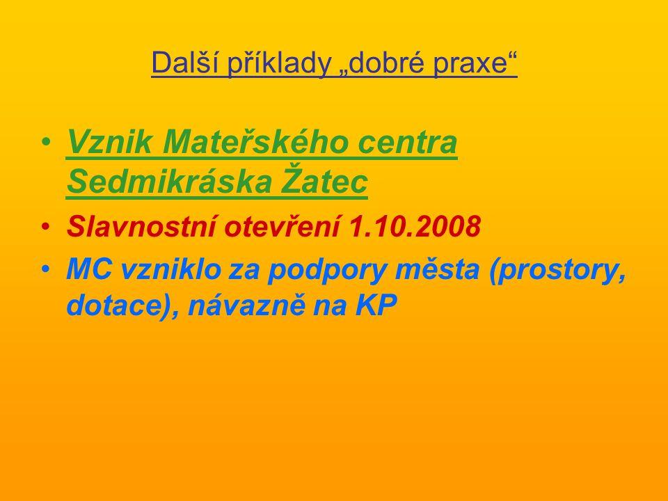 """Další příklady """"dobré praxe Vznik Mateřského centra Sedmikráska Žatec Slavnostní otevření 1.10.2008 MC vzniklo za podpory města (prostory, dotace), návazně na KP"""
