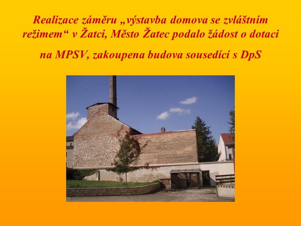 """Realizace záměru """"výstavba domova se zvláštním režimem v Žatci, Město Žatec podalo žádost o dotaci na MPSV, zakoupena budova sousedící s DpS"""