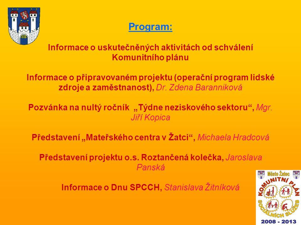 Program: Informace o uskutečněných aktivitách od schválení Komunitního plánu Informace o připravovaném projektu (operační program lidské zdroje a zaměstnanost), Dr.