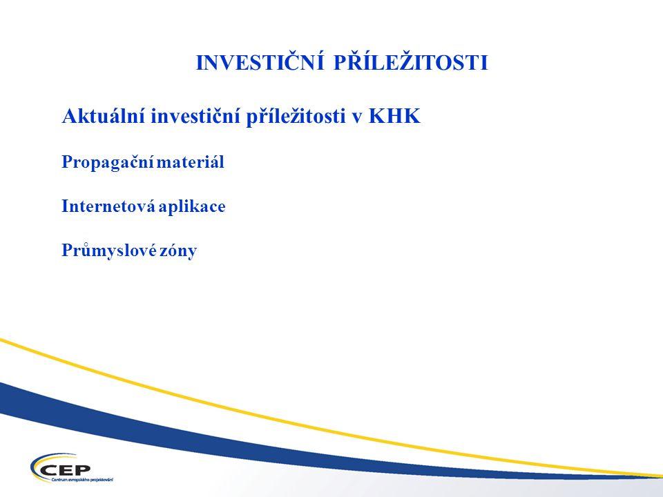 Operační program Průmysl a podnikání (OPPP) INVESTIČNÍ PŘÍLEŽITOSTI Aktuální investiční příležitosti v KHK Propagační materiál Internetová aplikace Průmyslové zóny