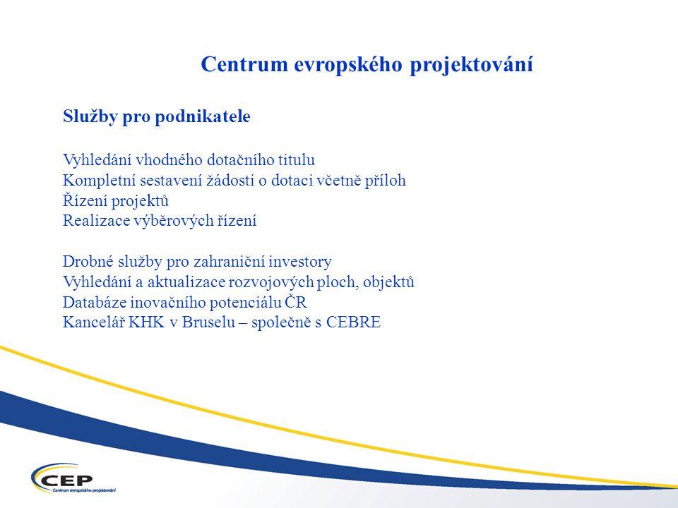 Operační program Průmysl a podnikání (OPPP) Centrum evropského projektování Služby pro podnikatele Vyhledání vhodného dotačního titulu Kompletní sestavení žádosti o dotaci včetně příloh Řízení projektů Realizace výběrových řízení Drobné služby pro zahraniční investory Vyhledání a aktualizace rozvojových ploch, objektů Databáze inovačního potenciálu ČR Kancelář KHK v Bruselu – společně s CEBRE
