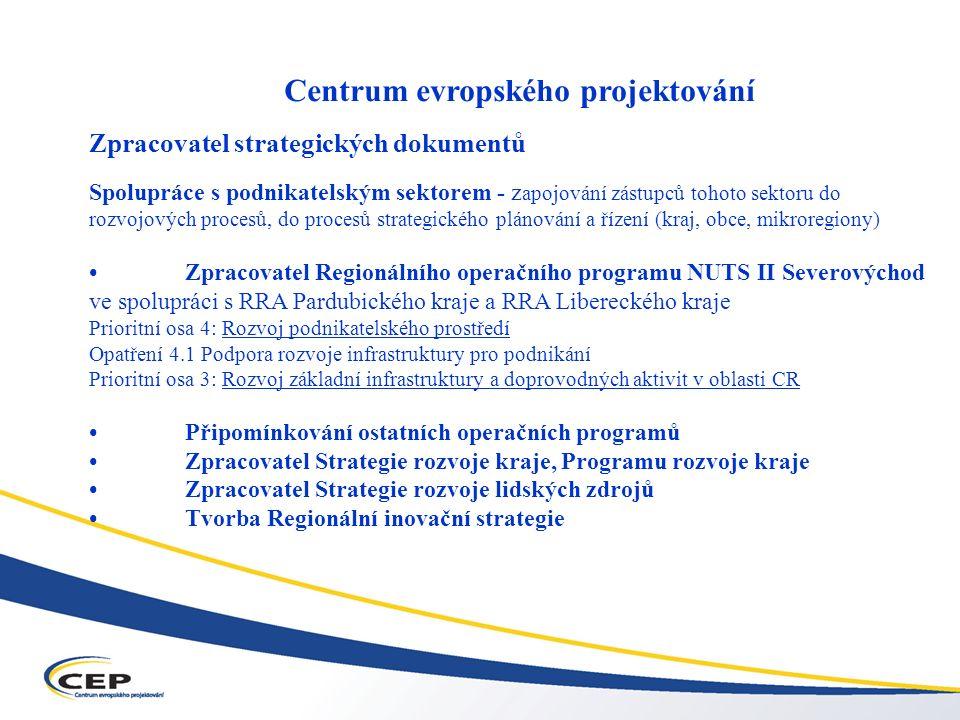 Operační program Průmysl a podnikání (OPPP) Centrum evropského projektování Zpracovatel strategických dokumentů Spolupráce s podnikatelským sektorem - z apojování zástupců tohoto sektoru do rozvojových procesů, do procesů strategického plánování a řízení (kraj, obce, mikroregiony) Zpracovatel Regionálního operačního programu NUTS II Severovýchod ve spolupráci s RRA Pardubického kraje a RRA Libereckého kraje Prioritní osa 4: Rozvoj podnikatelského prostředí Opatření 4.1 Podpora rozvoje infrastruktury pro podnikání Prioritní osa 3: Rozvoj základní infrastruktury a doprovodných aktivit v oblasti CR Připomínkování ostatních operačních programů Zpracovatel Strategie rozvoje kraje, Programu rozvoje kraje Zpracovatel Strategie rozvoje lidských zdrojů Tvorba Regionální inovační strategie