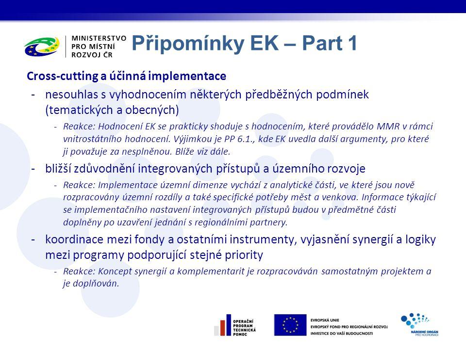 Připomínky EK – Part 1 Cross-cutting a účinná implementace -nesouhlas s vyhodnocením některých předběžných podmínek (tematických a obecných) -Reakce: Hodnocení EK se prakticky shoduje s hodnocením, které provádělo MMR v rámci vnitrostátního hodnocení.