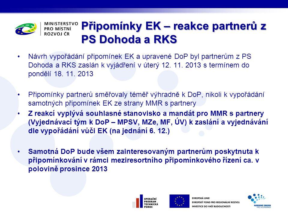 Připomínky EK – reakce partnerů z PS Dohoda a RKS Návrh vypořádání připomínek EK a upravené DoP byl partnerům z PS Dohoda a RKS zaslán k vyjádření v ú