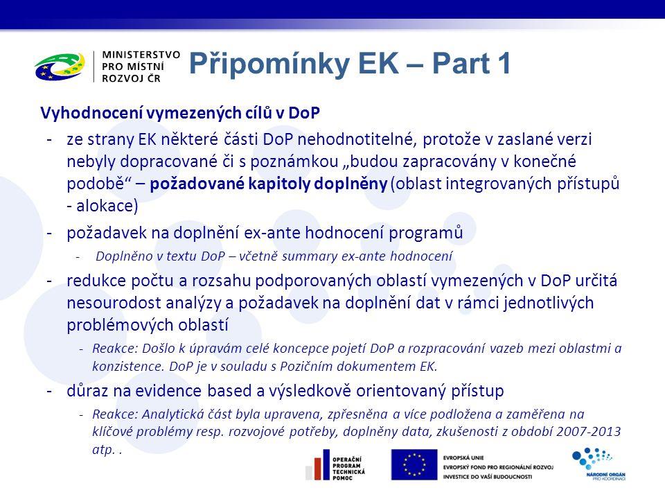 """Připomínky EK – Part 1 Vyhodnocení vymezených cílů v DoP -ze strany EK některé části DoP nehodnotitelné, protože v zaslané verzi nebyly dopracované či s poznámkou """"budou zapracovány v konečné podobě – požadované kapitoly doplněny (oblast integrovaných přístupů - alokace) -požadavek na doplnění ex-ante hodnocení programů -Doplněno v textu DoP – včetně summary ex-ante hodnocení -redukce počtu a rozsahu podporovaných oblastí vymezených v DoP určitá nesourodost analýzy a požadavek na doplnění dat v rámci jednotlivých problémových oblastí -Reakce: Došlo k úpravám celé koncepce pojetí DoP a rozpracování vazeb mezi oblastmi a konzistence."""
