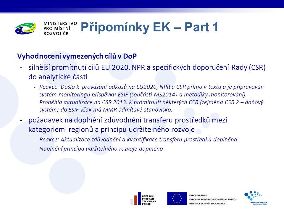 Připomínky EK – Part 1 Vyhodnocení vymezených cílů v DoP -silnější promítnutí cílů EU 2020, NPR a specifických doporučení Rady (CSR) do analytické čás