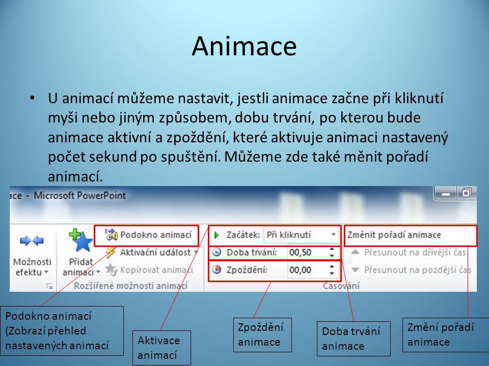 Animace U animací můžeme nastavit, jestli animace začne při kliknutí myši nebo jiným způsobem, dobu trvání, po kterou bude animace aktivní a zpoždění, které aktivuje animaci nastavený počet sekund po spuštění.