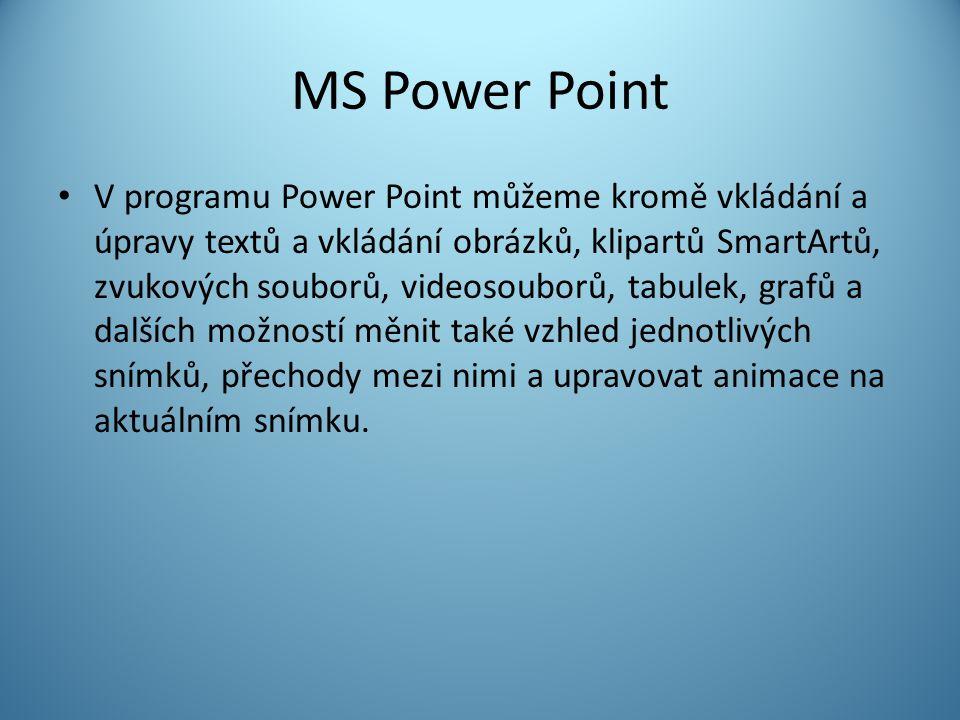MS Power Point V programu Power Point můžeme kromě vkládání a úpravy textů a vkládání obrázků, klipartů SmartArtů, zvukových souborů, videosouborů, tabulek, grafů a dalších možností měnit také vzhled jednotlivých snímků, přechody mezi nimi a upravovat animace na aktuálním snímku.