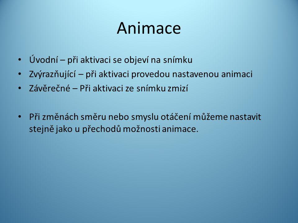 Animace Úvodní – při aktivaci se objeví na snímku Zvýrazňující – při aktivaci provedou nastavenou animaci Závěrečné – Při aktivaci ze snímku zmizí Při změnách směru nebo smyslu otáčení můžeme nastavit stejně jako u přechodů možnosti animace.