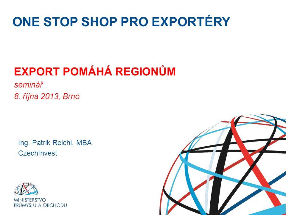 Ministerstvo průmyslu a obchodu ONE STOP SHOP PRO EXPORTÉRY EXPORT POMÁHÁ REGIONŮM seminář 8. října 2013, Brno RNDr. Petr Nečas předseda vlády Ing. Pa