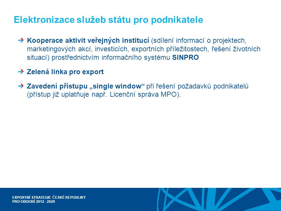 EXPORTNÍ STRATEGIE ČESKÉ REPUBLIKY PRO OBDOBÍ 2012 - 2020 Elektronizace služeb státu pro podnikatele Kooperace aktivit veřejných institucí (sdílení in