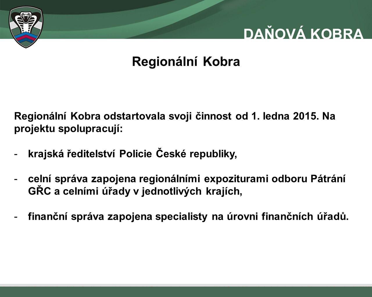 Regionální Kobra Regionální Kobra odstartovala svoji činnost od 1. ledna 2015. Na projektu spolupracují: -krajská ředitelství Policie České republiky,