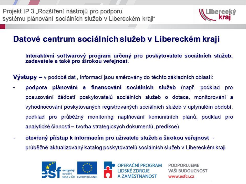 Datové centrum sociálních služeb v Libereckém kraji Interaktivní softwarový program určený pro poskytovatele sociálních služeb, zadavatele a také pro širokou veřejnost.