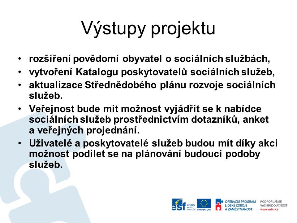 Výstupy projektu rozšíření povědomí obyvatel o sociálních službách, vytvoření Katalogu poskytovatelů sociálních služeb, aktualizace Střednědobého plánu rozvoje sociálních služeb.